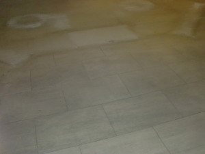 limestone tile before resurfacing & restoration